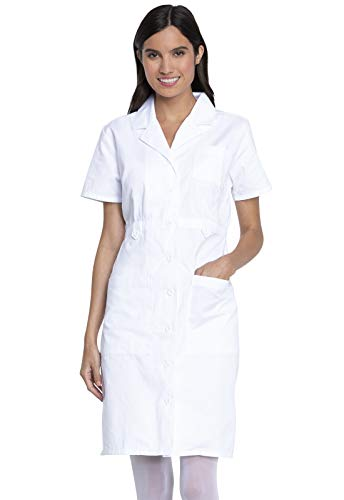 Dickies Women's Button Front Scrubs Dress, White, Large