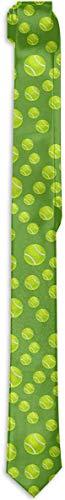 Men's Tie Tennis Balls Green Fashion Silk Skinny Ties Unique Gift Neckties