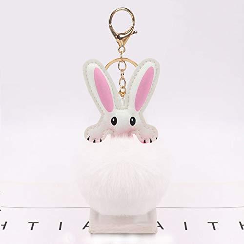Amantes del Llavero del Coche Bolsas de Conejo Colgantes Hombre Mujer Regalo de Felpa de Calidad Genuino Conejo Rex Traje de Felpa Conejo Colgante Conejito Nacimiento - Bola de Pelo Blanco