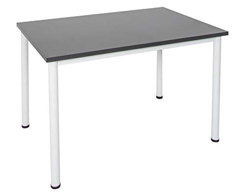 Dila GmbH Schreibtisch in verschiedenen Größen und Farben graues Metallgestell Konferenztisch Besprechungstisch (120 cm x T: 80 cm, Anthrazit)