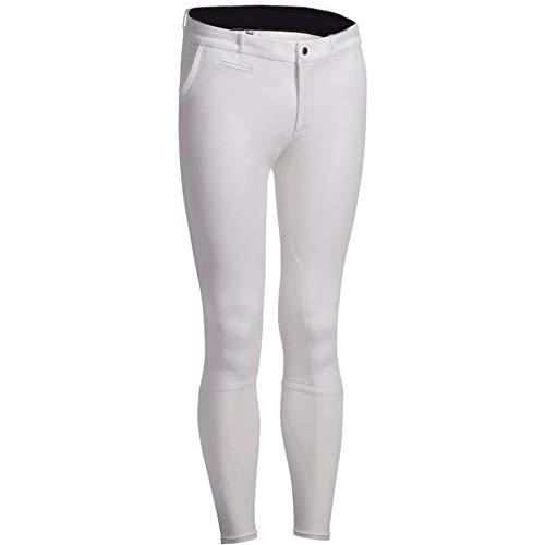 Zzzzy Herren-Reithose, Winter-Hose mit flexiblem Bein, Knieseiten-Patch-Design, weich, atmungsaktiv,White,S
