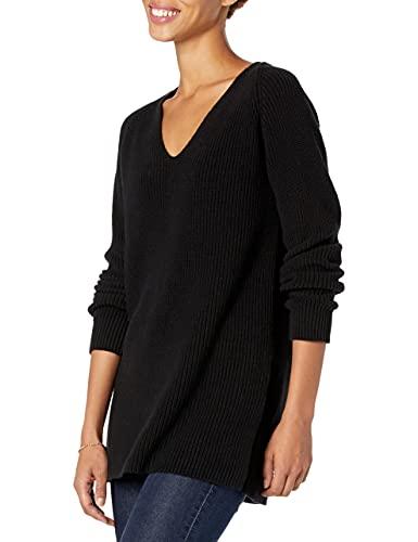 Amazon Brand - Goodthreads Women's Cotton Shaker Stitch Deep V-Neck Sweater, Black , Large