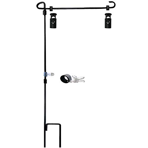 """Garden Flag Stand-Holder-Pole with Garden Flag Stopper and Anti-Wind Clip 36.3""""H x 16.5""""W For USA Flag Or Season Garden Flags Keep Your Flags from Flying Away in High Winds"""