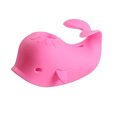 Bath Spout Cover, Faucet Cover Baby Bathroom Tub Faucet Cover Protector for Kids, Bathtub Spout Cover for Baby Kids Toddlers Protection Accessories Baby Safety Universal Bath Silicone Toys Whale Pink