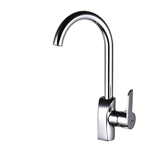 MBYW Grifo de Cocina Diseño Clásico y Profesional Agua Grifo de lavabo de cobre para fregadero grifo de cocina válvula de mezcla simple de un solo orificio caliente y fría