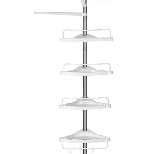 SONGMICS Estante de Baño Ajustable, Columna de Ducha Telescópica, 95-300 cm, de Suelo a Techo, con Marco de Acero Inoxidable, 4 Bandejas, 3 Ganchos, 1 Toallero, Blanco y Plateado BCB02SW
