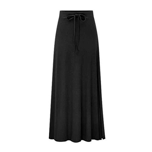 Damen Röcke Mädchen High Taille Maxi-Länge Rock mit Falten Gürtel Schwarz M