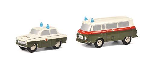 Schuco 450534800 Piccolo Set Volkspolizei, Trabant und Barkas Bus, Modellauto, Limited Edition 500