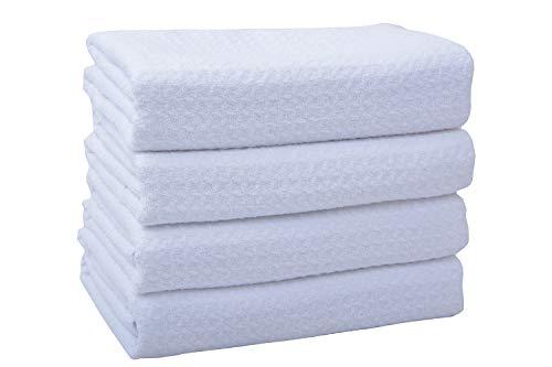 VIVOTE 4 Stück Microfaser Geschirrtücher weiß 40 x 60cm Küchentücher Super weiche saugfähige und antibakteriell