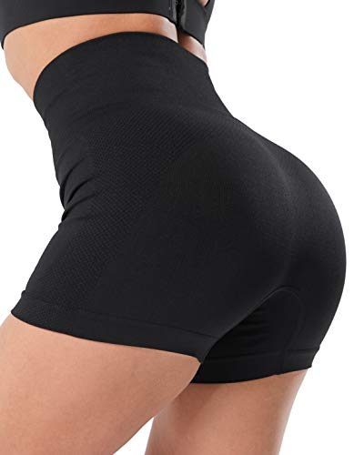 CHRLEISURE High Waisted Seamless Workout Shorts for Women, Gym Exercise Compression Yoga Short Black S