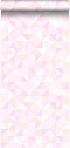 behang driehoekjes pastel roze, pastel perzikoranje en licht glanzend roze - 337208 - van Origin - luxury wallcoverings