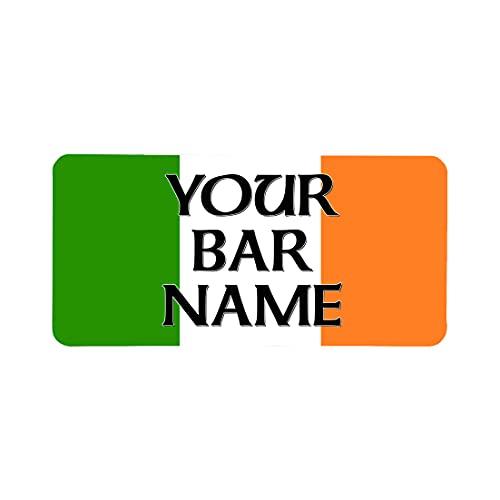Tappetino per bar personalizzato senza bordi, per casa, con bandiera irlandese, pub, bar, birra, birra, cocktail bar