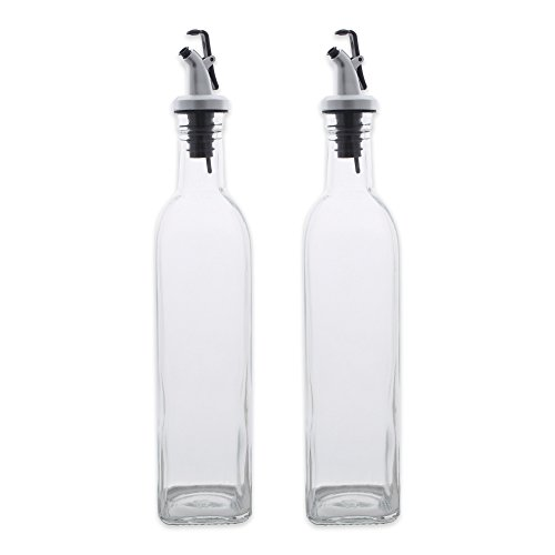 DII Set of 2 Oil & Vinegar Cruets with Cork Stoppers - Can be used for Liquids, Sauces, Oils and More, Dishwasher Safe and BPA Free