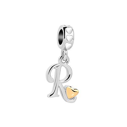MiniJewelry Girls Women Letter Initial Name Alphabet R Charm for Bracelets Gold Love Heart Dangle fits Pandora Charms Bracelets
