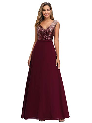 Ever-Pretty A-Línea De Gala Vestido De Noche Lentejuela Cuello En V Largo Para Mujer Borgoña 46