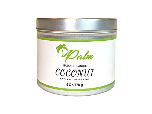 Palm Massage Oil Candle, Coconut Oil Natural Soy Wax 6 Oz