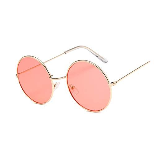 ZYHWS - Gafas de sol retro redondas de color rosa para mujer, gafas de sol para mujer, espejo de aleación, gafas de sol para mujer (color: dorado)