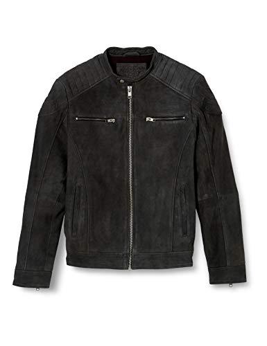 Jack & Jones JJELIAM Leather Jacket Noos Chaqueta de cuero, gris oscuro, M para Hombre