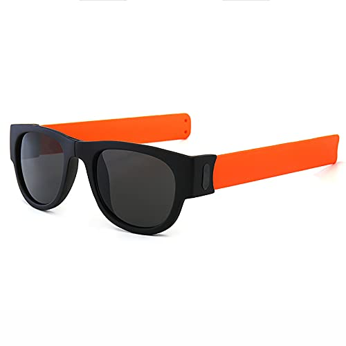 WBias&Belief Occhiali da sole sportivi pieghevoli unisex occhiali da guida leggeri Slapsee Wristband occhiali da sole per adulti e bambini, arancione