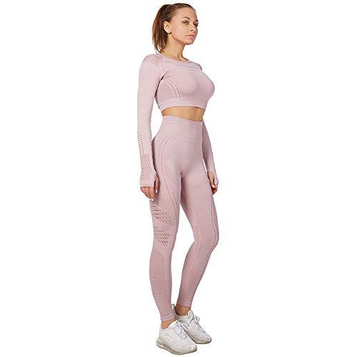 Jamron Mujer Estiramiento Conjunto de Ropa de Yoga Top Corto + Polainas 2 Piezas Chandal Gimnasio Aptitud Ropa Deportiva Rosa de Loto SN05405 L