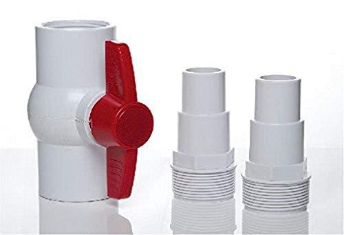 Gre AR512 - Kugelventil und 2 Gewindeanschlüsse für Schläuche Ø 38 und Ø 32 mm