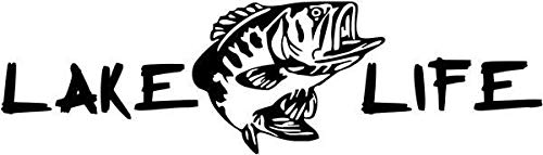 DF USA DECALS Lake Life Bass Fishing Sportsman - Sticker Graphic - Auto, Wall, Laptop, Cell, Truck Sticker for Windows, Cars, Trucks (White)
