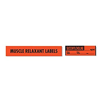 Muscle Relaxant Medication Label Tape SUCCINYLCHOLINE_mg/mL  Reverse Imprint