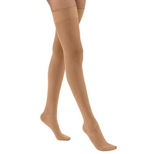 Calcetines de mujer Ultrasheer 20 – 30 mmHg muslo de alta firmeza calcetines de apoyo con punto de silicona banda superior Tamaño: Medio, Color: Natural