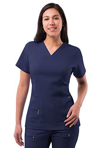 Adar Pro Scrubs for Women - Elevated V-Neck Scrub Top - P4212 - Navy - M