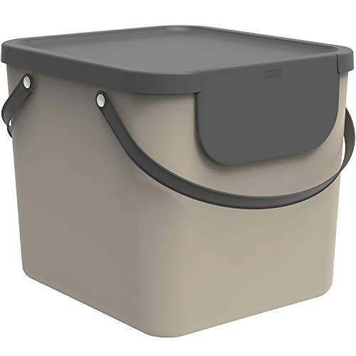 Rotho Albula Mülltrennungssystem 40l für die Küche, Kunststoff (PP) BPA-frei, cappuccino/anthrazit, 40l (40.0 x 35.8 x 34.0 cm)