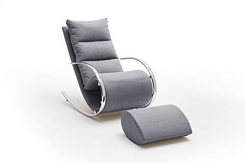 lifestyle4living Relaxsessel mit Hocker in grau, Chrom   Schaukelstuhl in modernem Design   Der perfekte Wohnzimmersessel für entspannte Lange Fernseh- und Leseabende