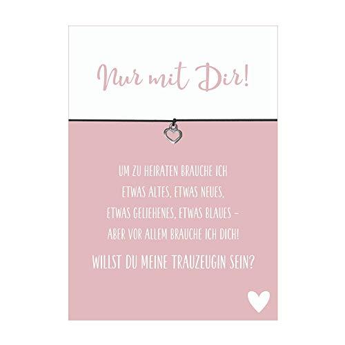 Glücksschmiedin Armband Beste Trauzeugin mit Herz Anhänger, elastischem Textilband in schwarz und liebevoller Karte: Willst du Meine Trauzeugin Sein?