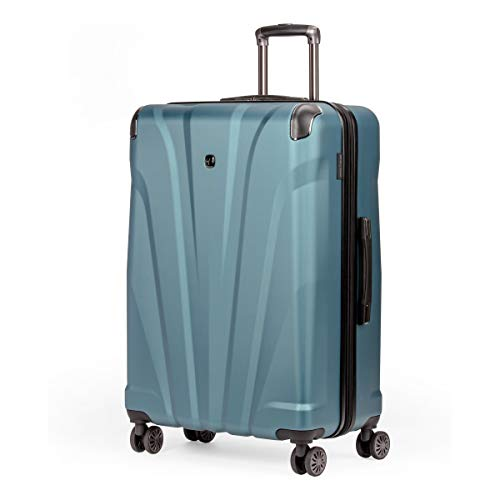 SWISSGEAR 7330 Hardside Spinner Luggage, Large Checked Suitcase - Teal