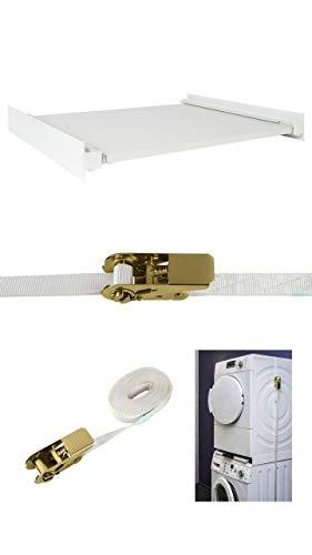 Xavax Sicherungs-Zurrgurtschloss + Conny Clever® Zwischenbausatz mit Auszug für Waschmaschinen und Trockner