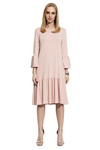 AE Damen Glockenkleid Kleid Elegant Langarm Mittellang Abendkleid Gr. S M L XL 36 38 40 42, F03...