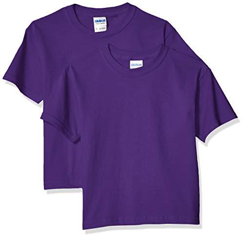 Gildan Kids' Big Ultra Cotton Youth T-Shirt, 2-Pack, Purple, Small