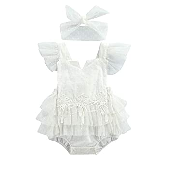 Newborn Infant Baby Girl Romper Bodysuit Jumpsuit Outfits Lace Romper Ruffle Sleeveless Backless Tutu Dress White Clothes  F-white2 18-24 Months
