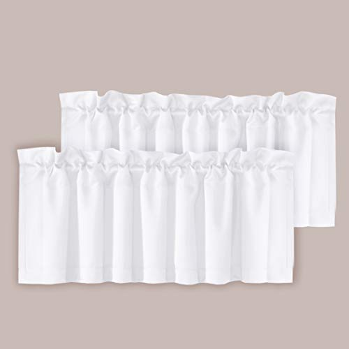 "H.VERSAILTEX 2 Panels Blackout Curtain Valances for Kitchen Windows/Bathroom/Living Room/Bedroom Privacy Decorative Rod Pocket Short Winow Valance Curtains, 52"" W x 18"" L, Pure White"