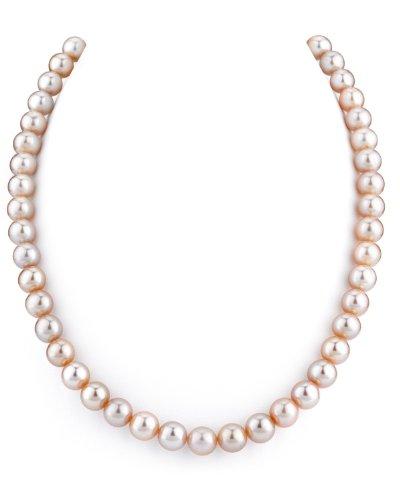 THE PEARL SOURCE - Rosa Perlenkette AAA 8-9mm Süßwasser Zuchtperlen Halsketten für Frauen - Perlen Kette Opera - Länge 91cm - mit Weißgoldverschluss