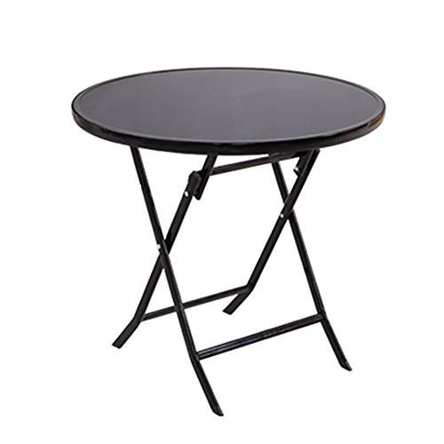 WYJW Inklapbare eettafel voor buiten camping Kleine ronde opvouwbare koffie en thee tafels Computer werkstations (Kleur: Zwart, Grootte: Rond)