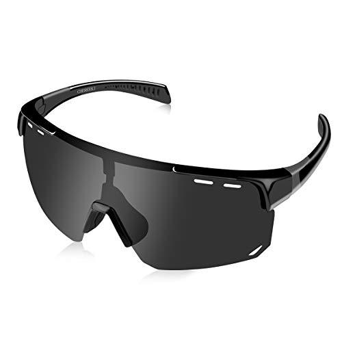 CHEREEKI Radsportbrille Sports Sonnenbrille, Fahrradbrille Polarisierte Sportbrille mit UV400 Schutz Outdoor Brille für Herren Sportler Radfahren Skifahren Autofahren Laufen Wandern (Schwarz)