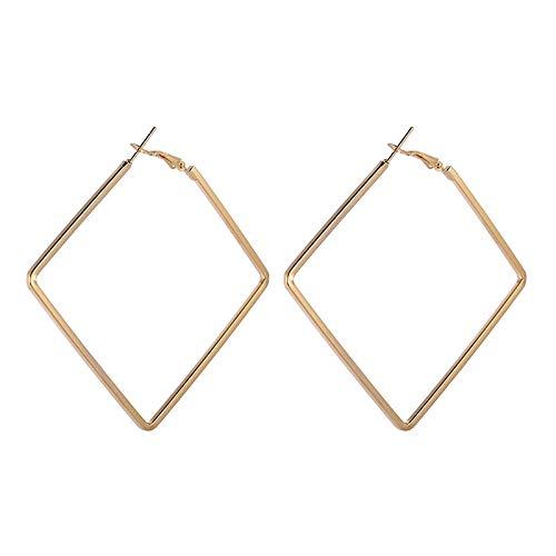 HoopsEarringsForWomen,Fashion Statement Golde Geometric Square Pierced Earrings Hypoallergenic Lightweight Hoop Ring Circle Jewelry Earrings For Women Girls Party Wedding