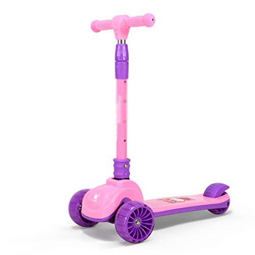 FRTG Scooters para niños, Patinete de 3 Ruedas para niños pequeños, niñas y niños, inclinarse para Conducir con Ruedas LED de PU para niños,A