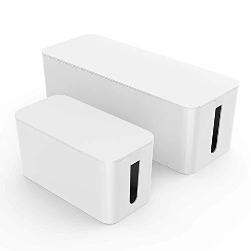 Kabelbox groß + klein weiß I Kabelboxen 2 Stück I Kabelbox Set I Kabelmanagment für Kabelsalat I Kabel verstecken zum Schutz von Kindern und Haustieren I Kabelorganisation