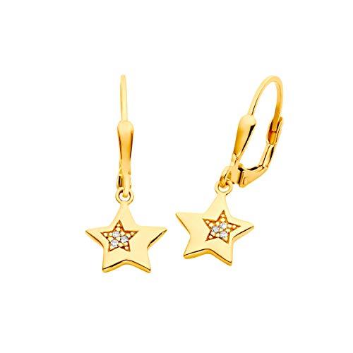Prinzessin Lillifee Ohrringe 2029707 Mädchen Ohrringe Stern Gold Weiß Zirkonia