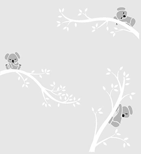 BDECOLL Adesivi Murali,Carton Koala Albero Adesivo da parete,decorazione per la casa (Bianco Bianco)