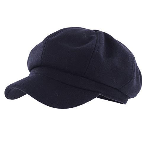 Gisdanchz Casquette Gavroche Femme Bleu Marin Beret Casquettes Laine Bonnet Hiver Newsboy Chapeau Béret Cabbie Bleu Marin