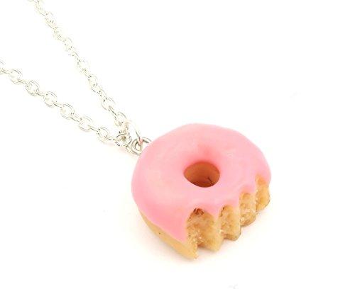 schmuck-stadt Donut Kette Damen rosa 60cm Silber-Farben Zuckerguss