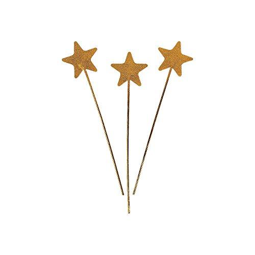 Fun Express Gold Glitter Star Wands (Set of 12) Halloween Costume Props