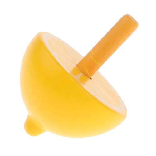 T TOOYFUL Handgemachte Bemalte Holz Früchte Kreisel Holzkreisel Spielzeugkreisel Kinder Holzspielzeug - Gelb - Zitrone